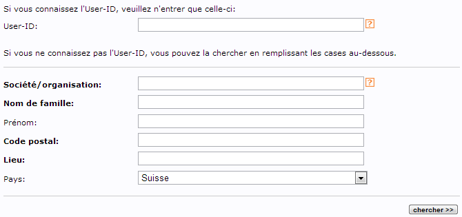 Réinitialisez votre mot de passe ou votre User-ID Switch