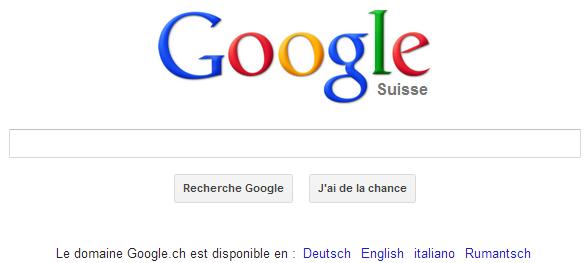 Accédez à la barre de recherche Google Suisse
